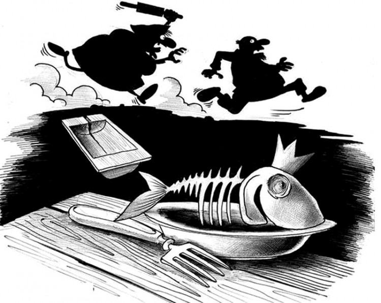 Картинка  про золотую рыбку черная