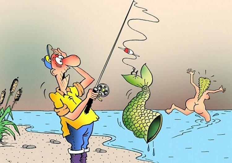 Картинка  про рыбаков, русалок пошлая