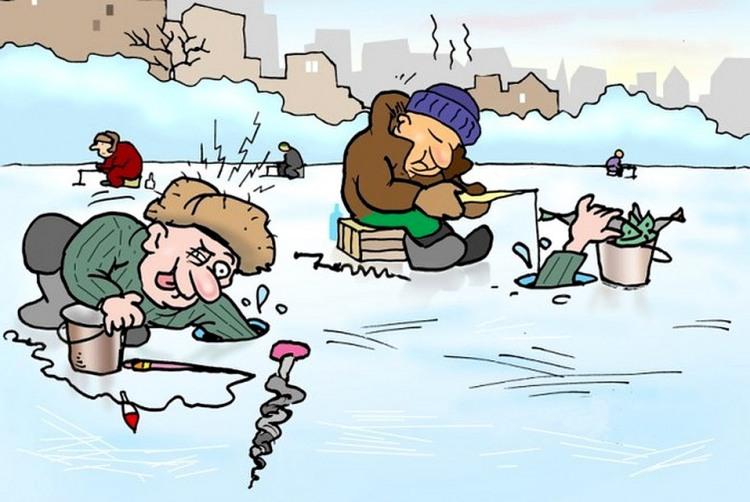 Картинка  про рыбалку, рыбаков и хитрость