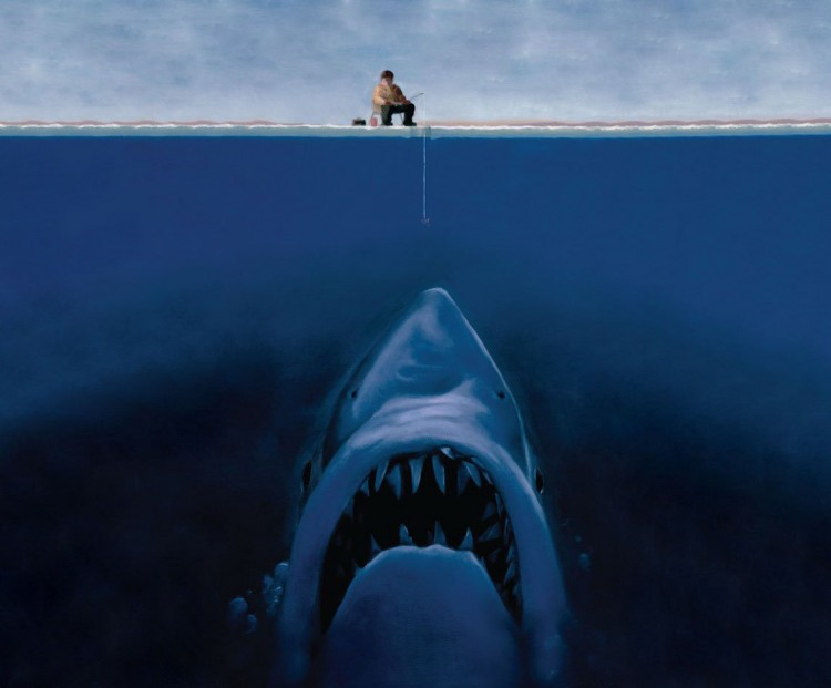 Картинка  про рыбалку, акул черный