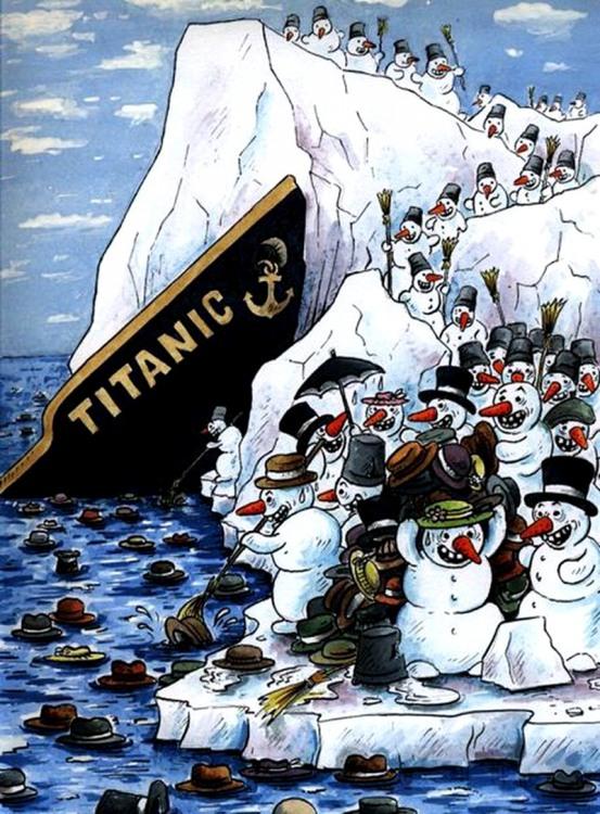 Картинка  про титаник, снеговика черная