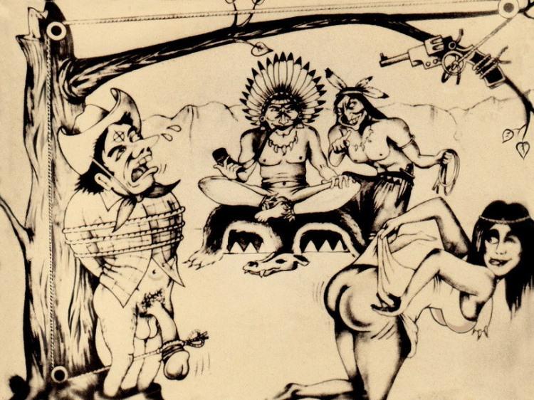 Картинка  про индейцев, казнь, интимная, пошлая жестокая