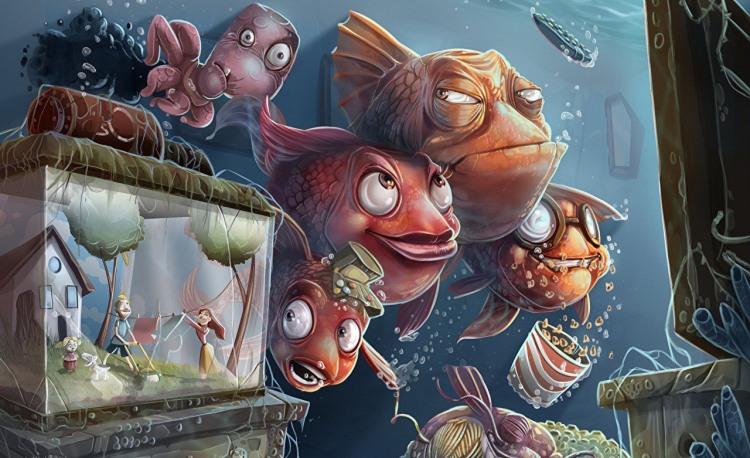 Картинка  про рыбу и аквариум