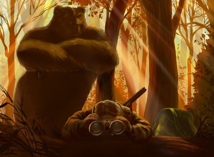 Картинка  про охотников, медведей черная