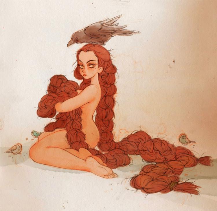 Картинка  про девушек, раздетых людей, волосы пошлая