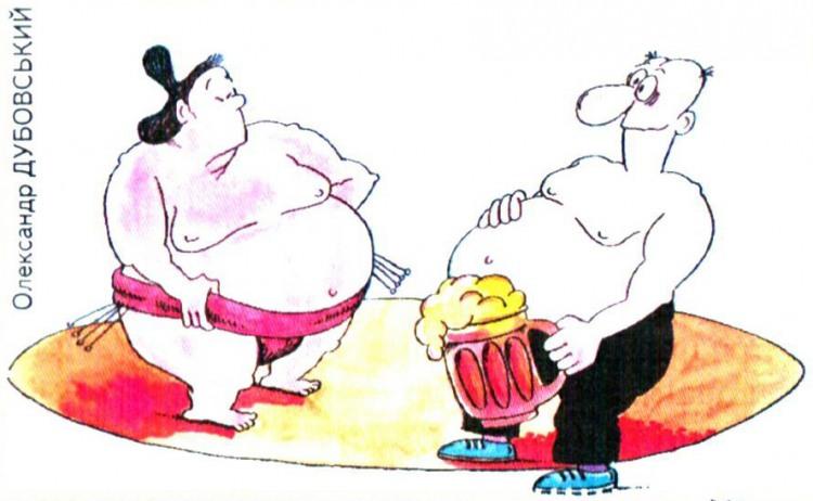 Картинка  про сумо, живот и пиво
