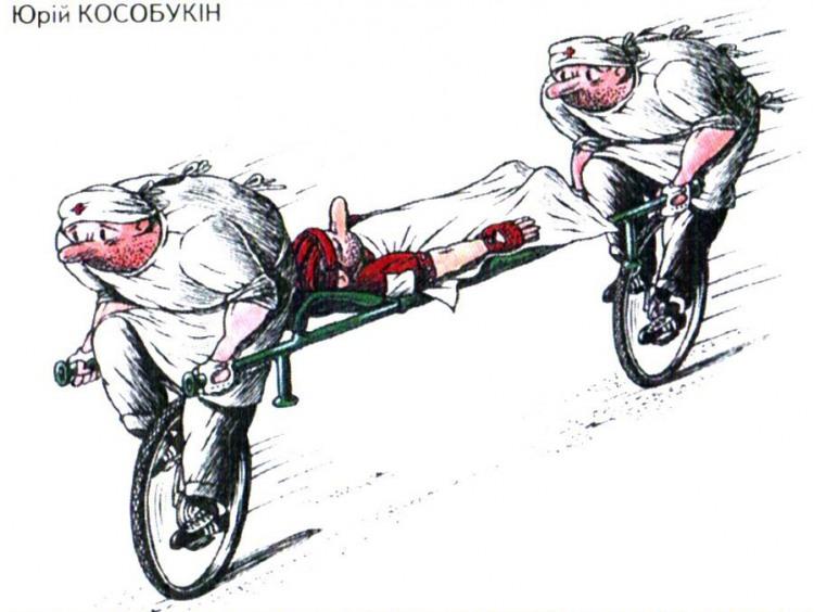 Картинка  про санитаров и велосипед