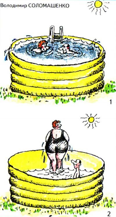 Картинка  про бассейн и лишний вес