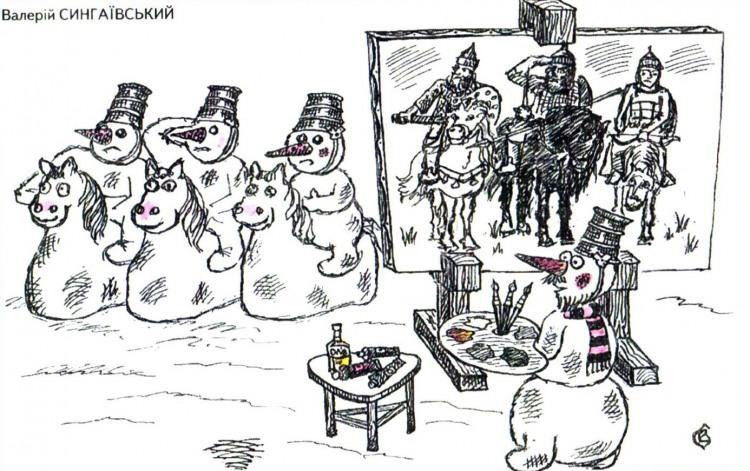 Картинка  про трех богатырей, снеговика и картины