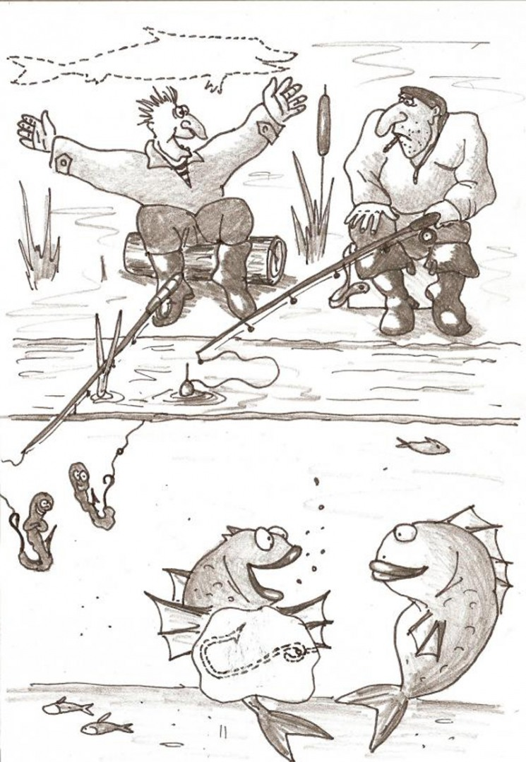 Рисунки про рыбалку прикольные, для