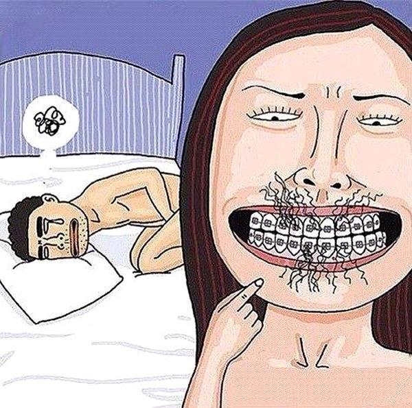 Картинка  про брекеты, интимная, пошлая черная