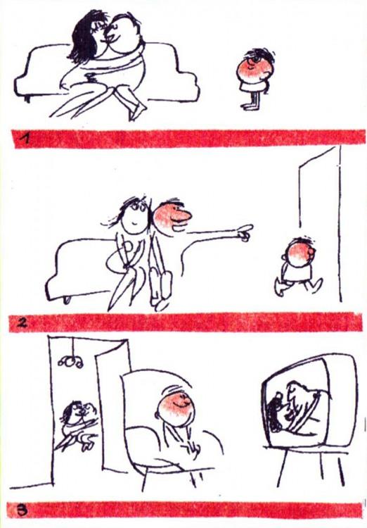 Картинка  про родителей, детей, телевизор пошлая