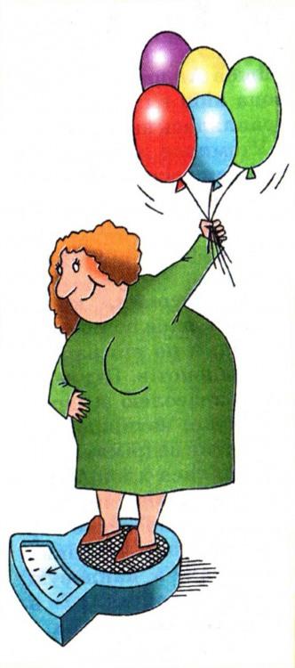 Картинка  про шарики, весы и толстых людей