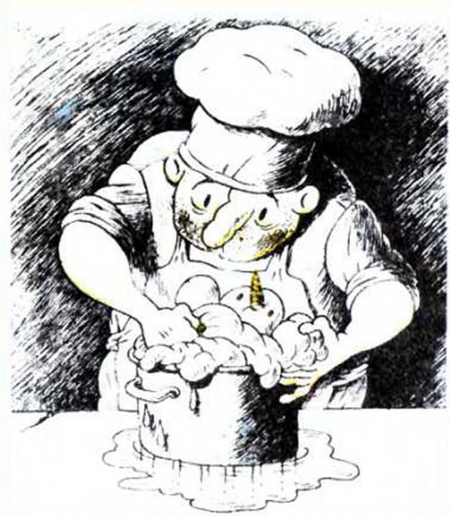 Картинка  про поваров и снеговика
