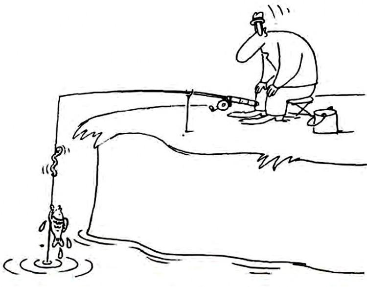 Картинка  про рыбалку, червяков и рыбу