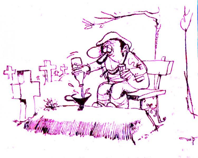 Картинка  про кладбище, алкоголиков черная