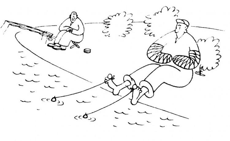 Картинка  про рыбалку и пальцы