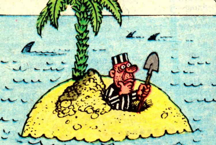 Картинка  про необитаемый остров, побег и преступников