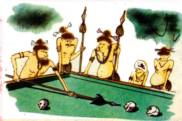 Картинка  про каннибалов, бильярд, череп черная