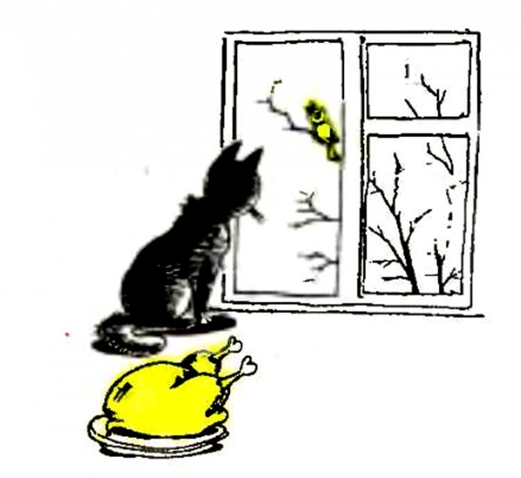 Картинка  про котов, птиц и мечту