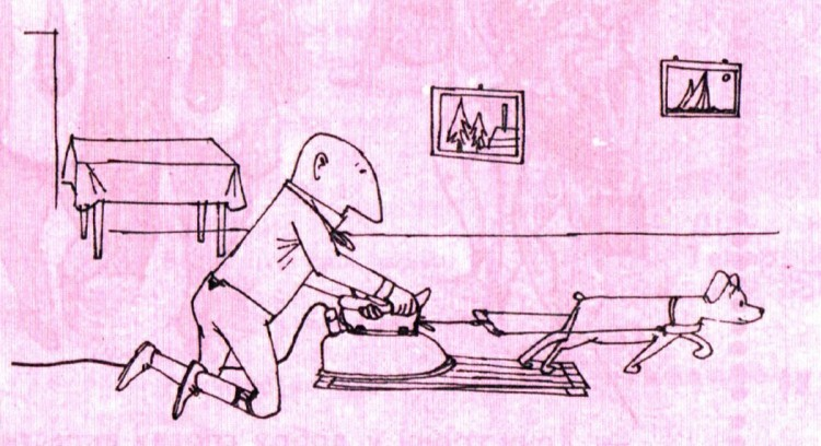 Картинка  про глажку белья, утюг и собак