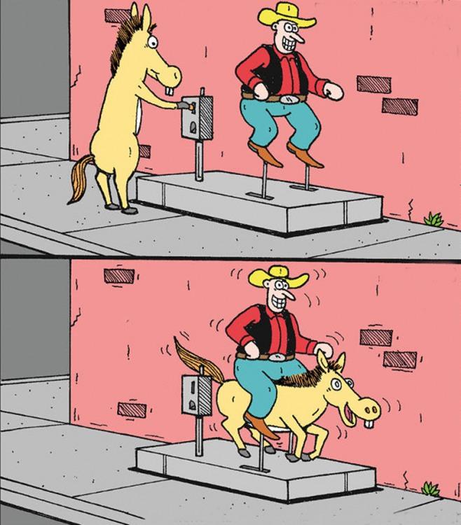 Картинка  про лошадей и карусель