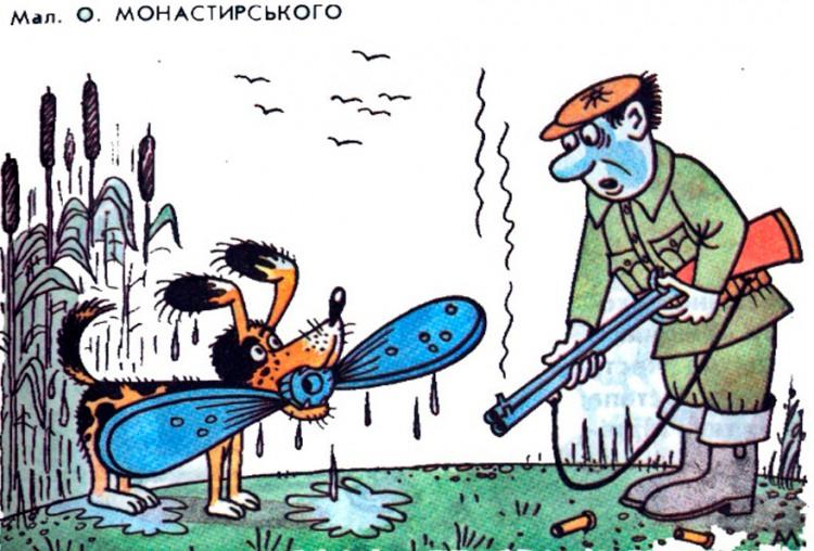 Картинка  про охотников, собак, самолеты черная