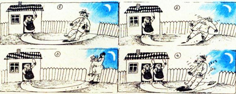 Картинка  про мужа, жену, скалку, пьяных комикс