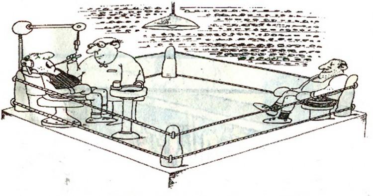 Картинка  про стоматологов и боксеров