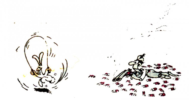 Картинка  про зайцев и охотников