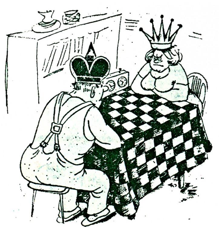 Картинка  про мужа, жену и шахматы