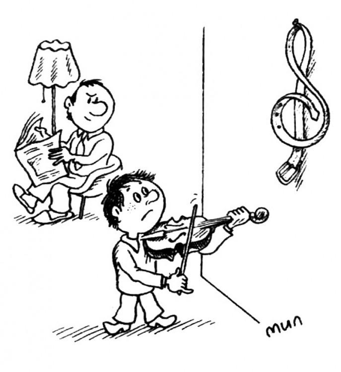 Картинка  про скрипку, детей, ремень и скрипичный ключ