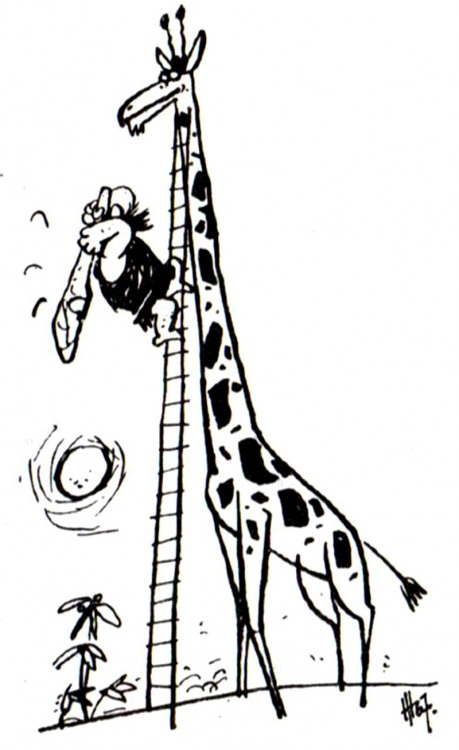 Картинка  про первобытных людей и жирафа