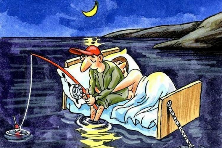 Картинка  про мужа, жену и рыбалку