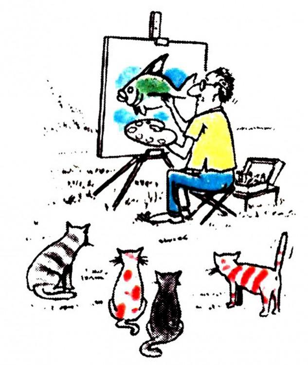Картинка  про художников, рыбу и котов