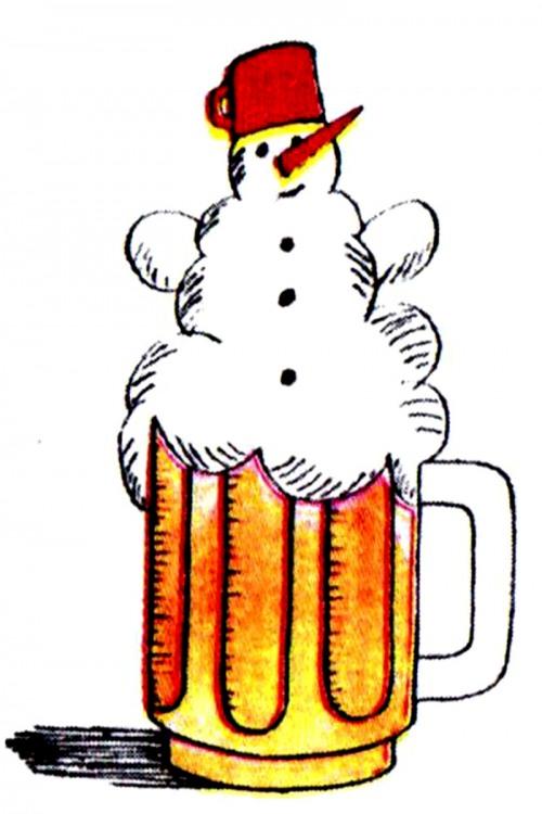 Картинка  про пиво, снеговика и пену