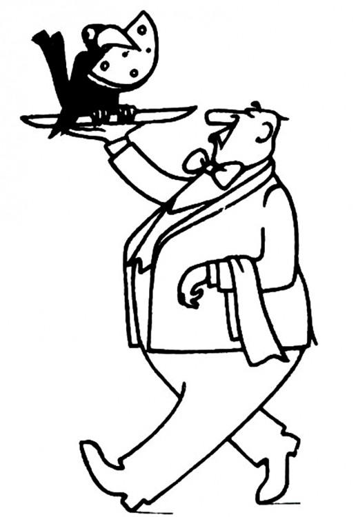 Картинка  про ворону, сыр и официантов