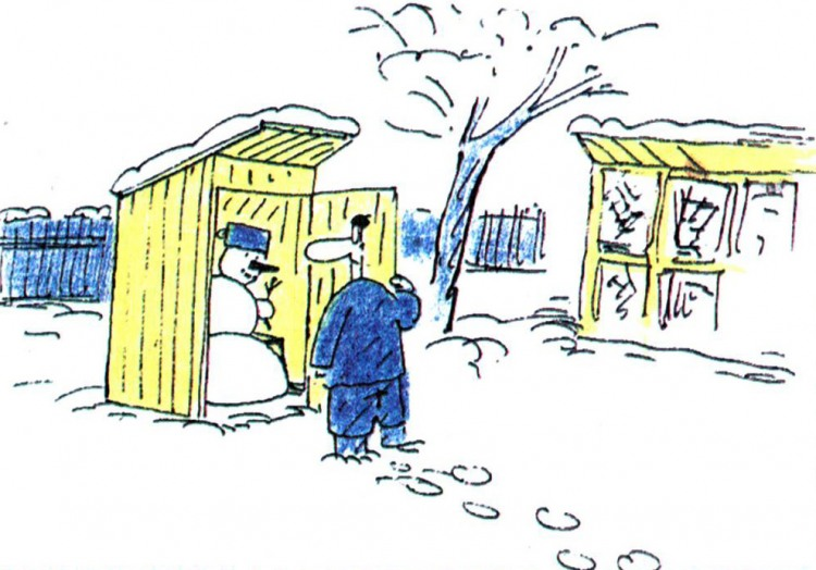Картинка  про туалет и снеговика