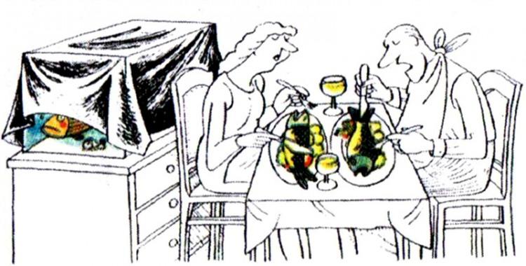 Картинка  про рыбу, аквариум и еду