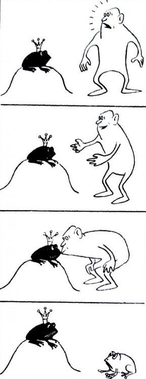 Картинка  про царевну-лягушку, поцелуи, черный комикс