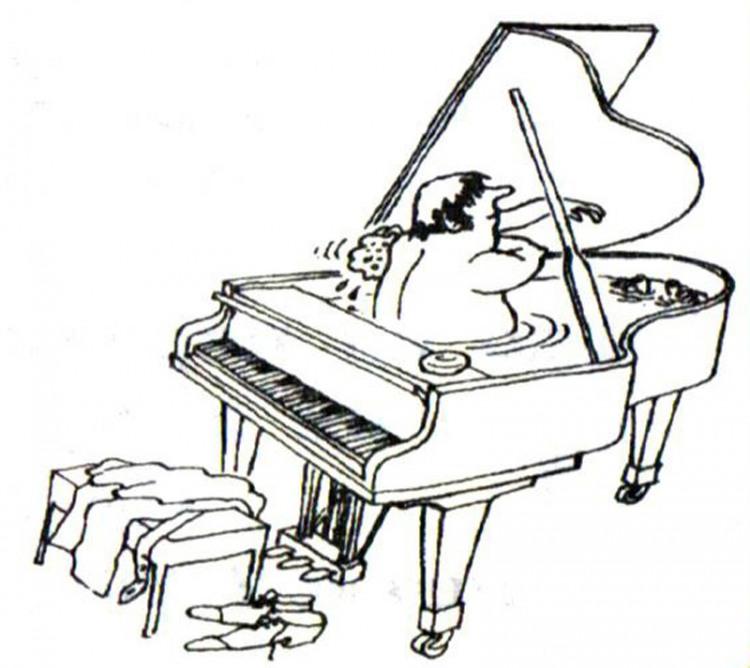 Картинка  про рояль и мытьё