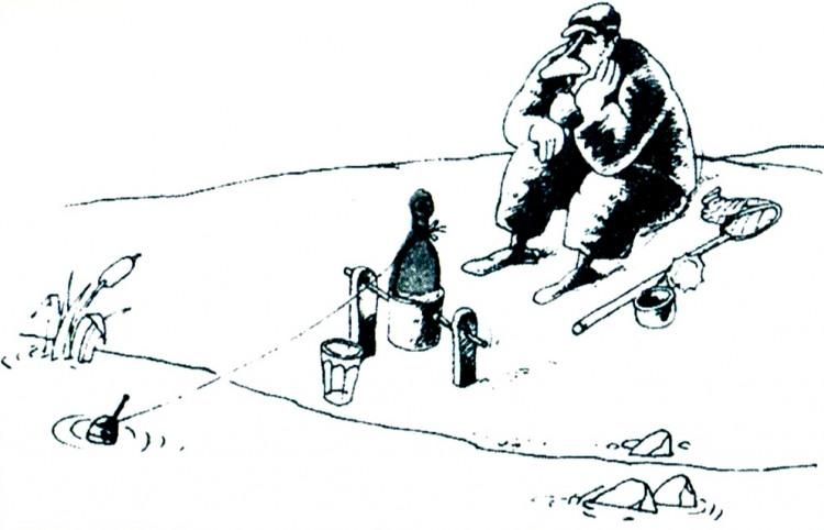 Картинка  про рыбаков, бутылку и алкоголь