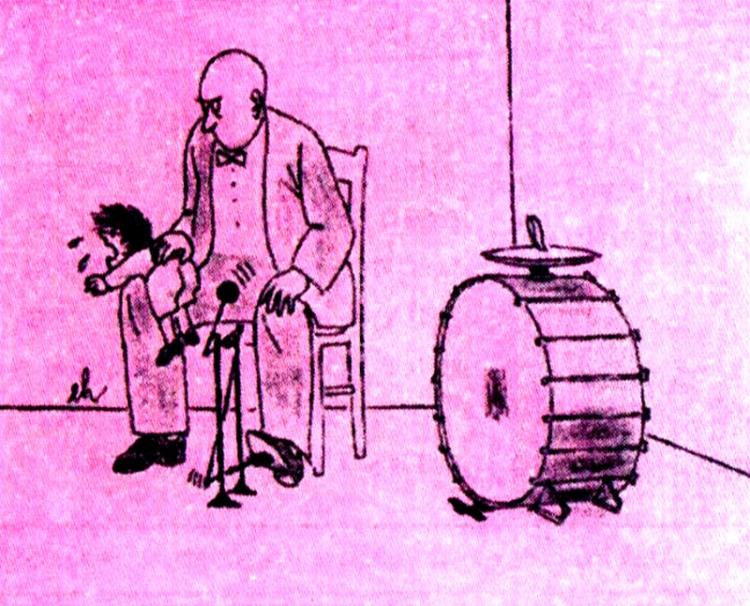 Картинка  про барабан, музыкантов, детей черная