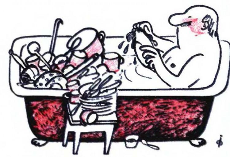 Картинка  про посуду, мытьё и ванну