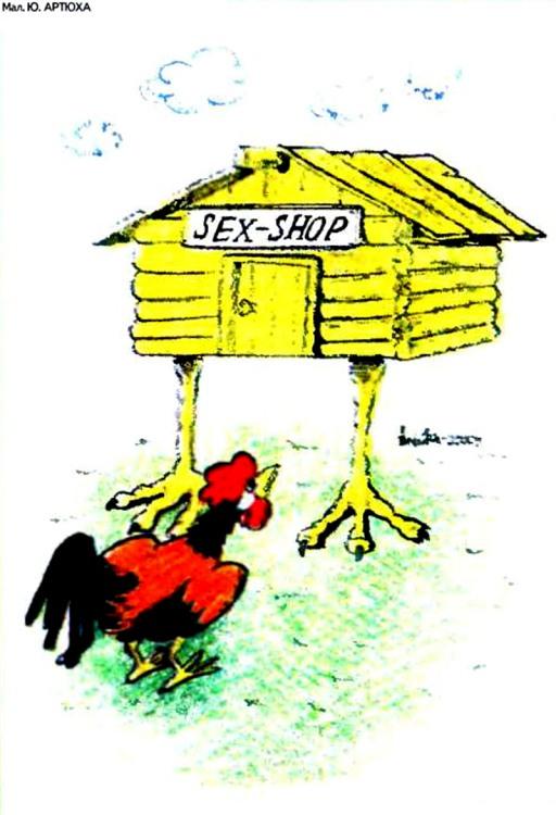 Картинка  про секс шоп и петуха
