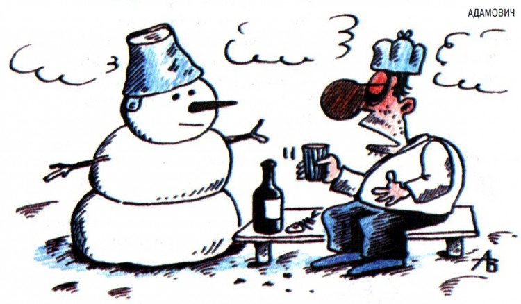Картинка  про алкоголиков и снеговика
