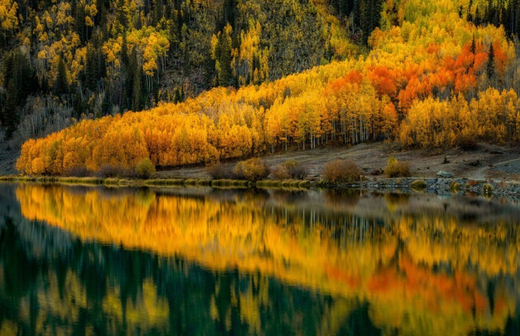 Фото прикол  про осень и озеро