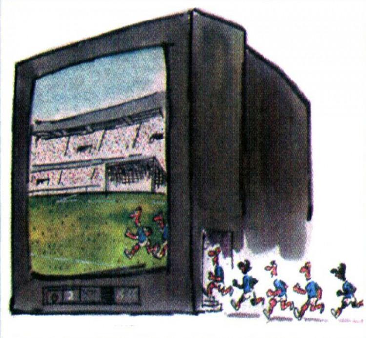 Картинка  про телевизор и футбол