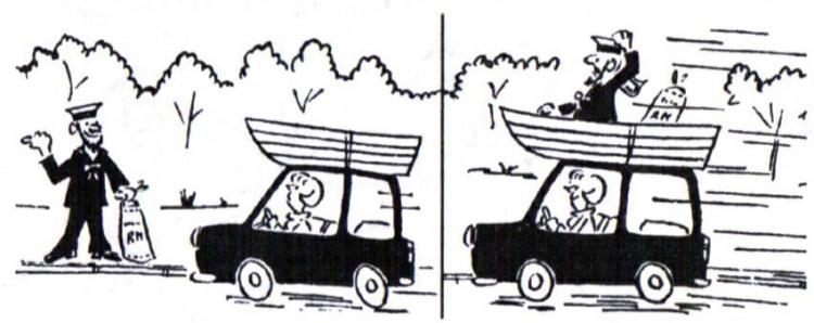 Картинка  про моряков, лодку, автомобили комикс