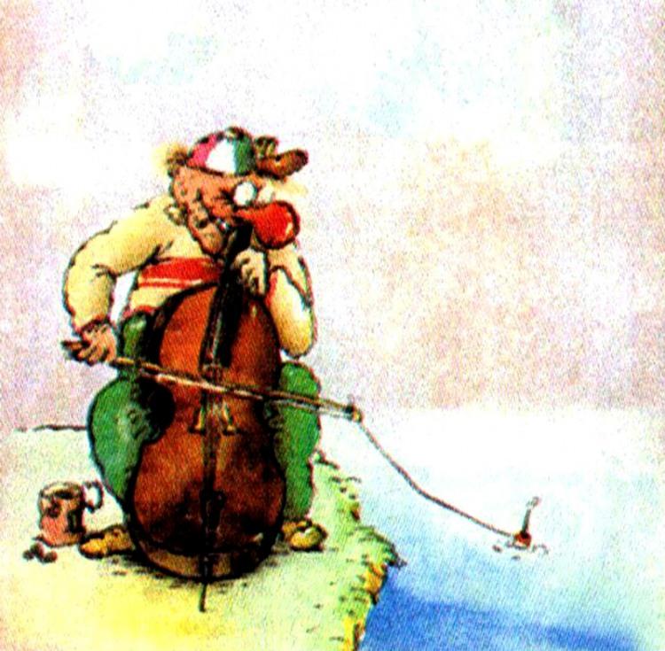Картинка  про музыкантов, рыбаков и рыбалку